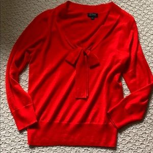 Valentine Red Cashmere sweater Jcrew Bow Small